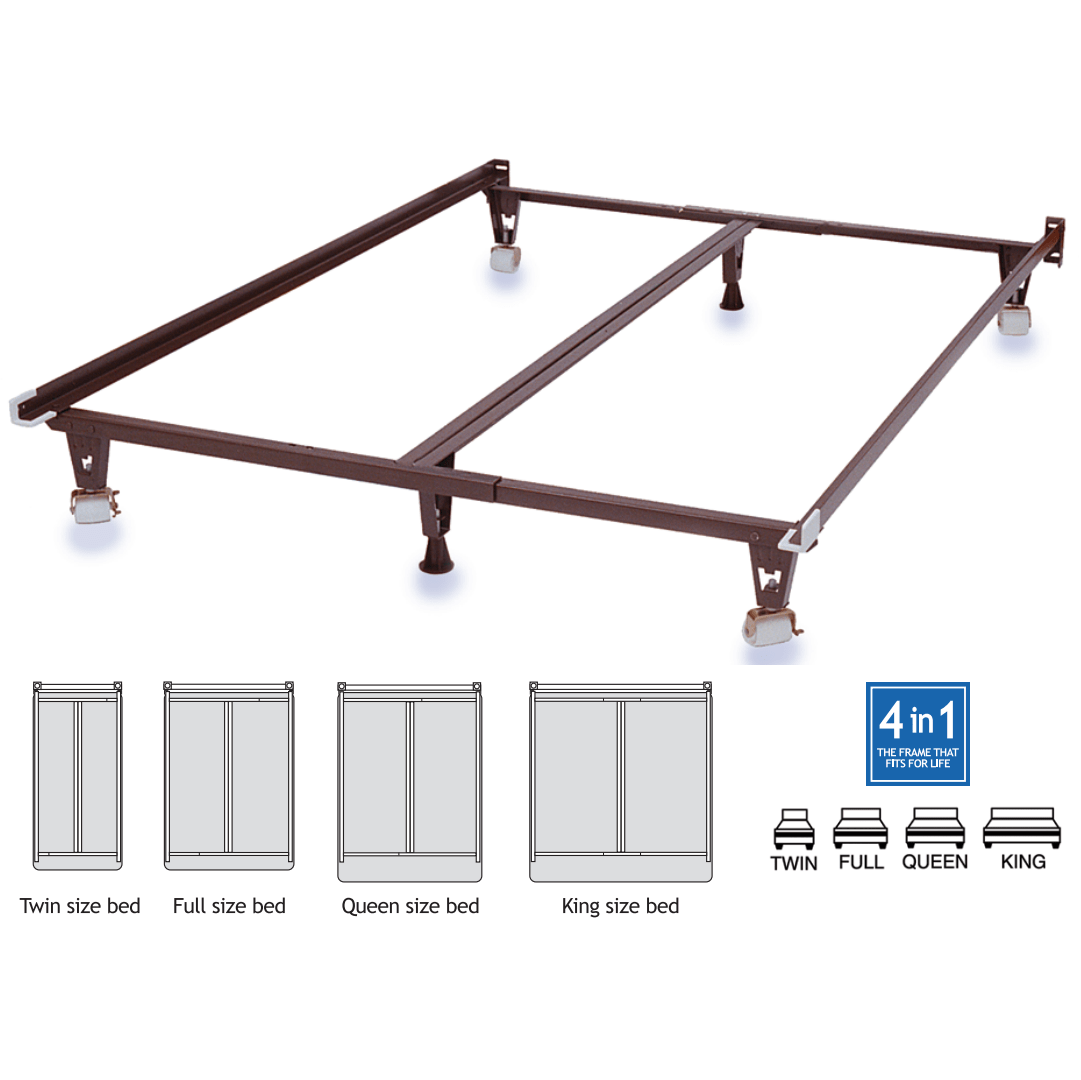 knickerbocker heavy duty in metal bedframe with wheels  metro  - knickerbocker kb ultima bedframe