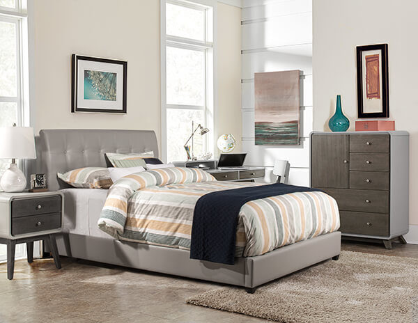 Hillsdale Lusso Bed main Grey Faux Leather