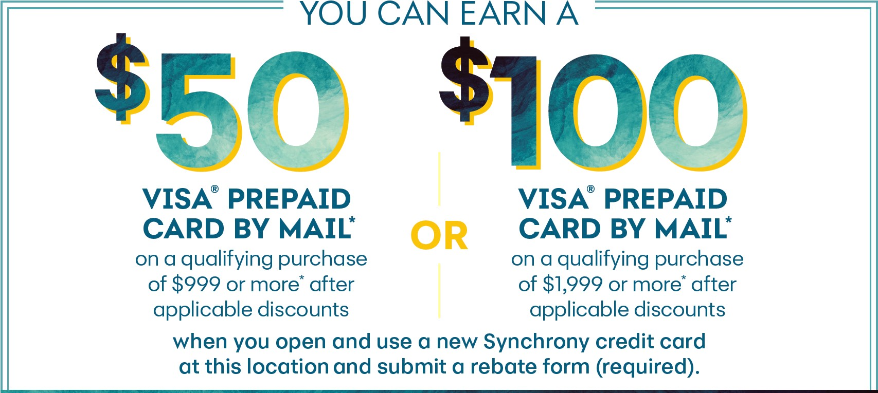 Synchrony 50 or 100 Rebate Offer Labor Day 2021 banner
